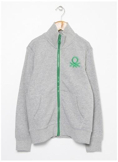 Benetton Benetton Logolu Gri Melanj Erkek Çocuk Sweatshirt Gri